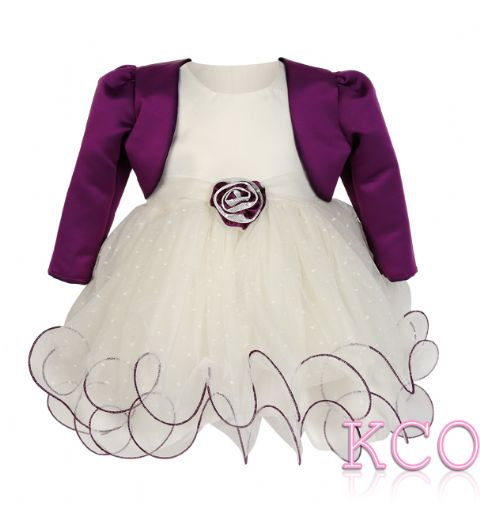 Baby Girls Dress ~ FJD924 Bolero Jacket and Dress Ivory/ Cadburys Purple